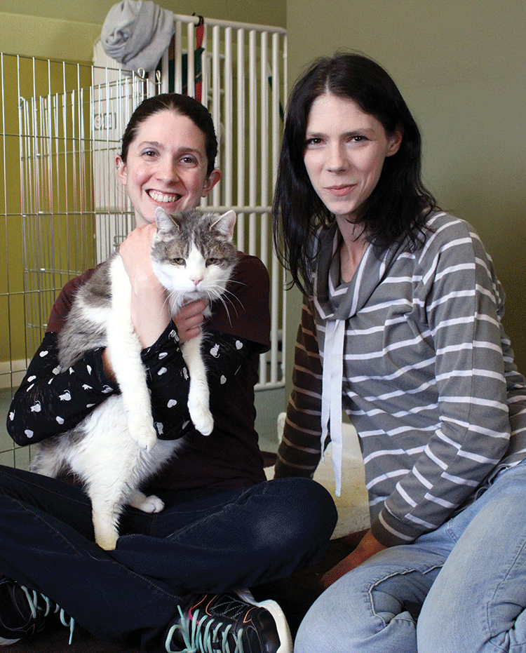 Cathy and Erin with Petey at Purradise